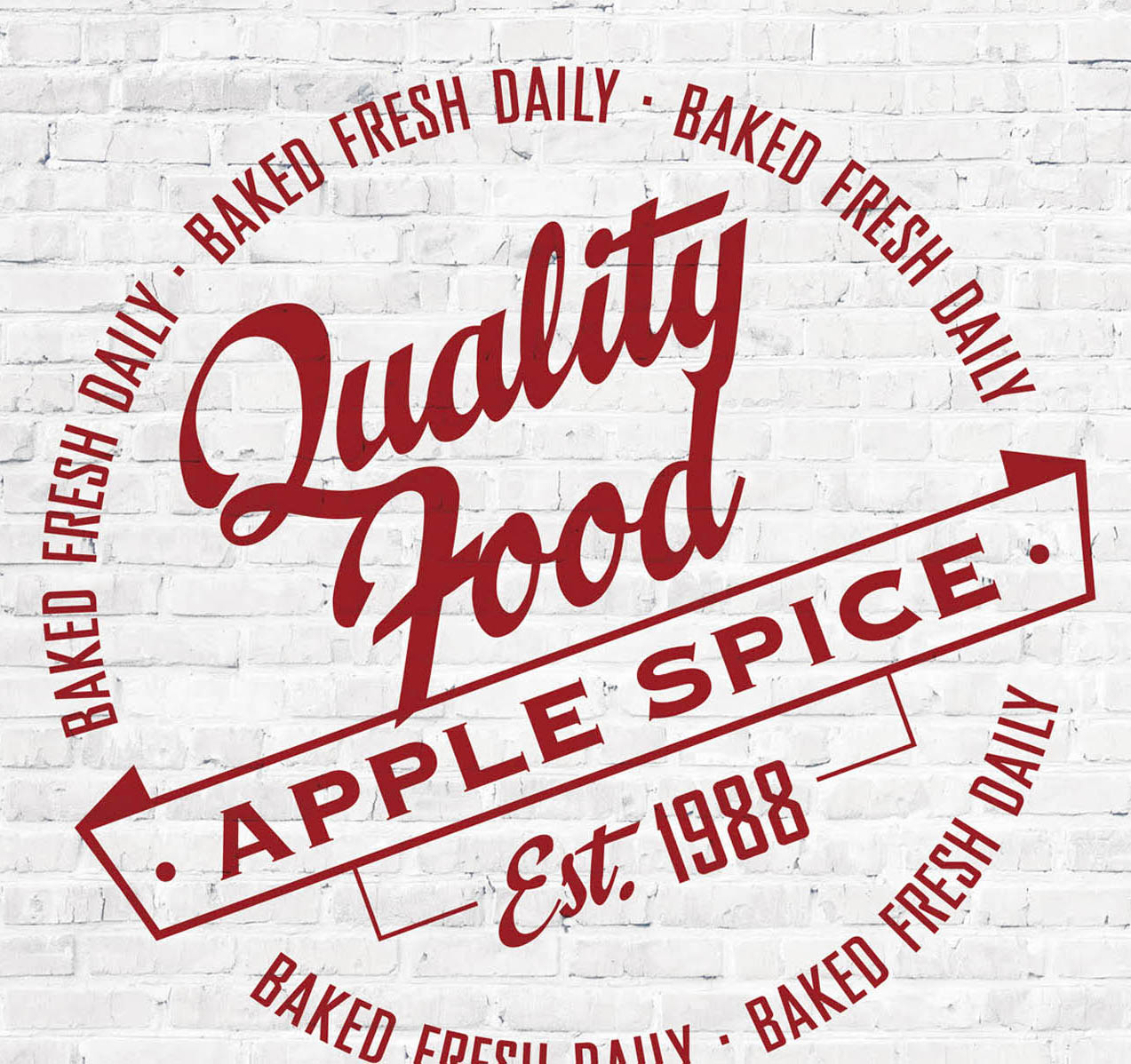 white brick wall red apple spice logo