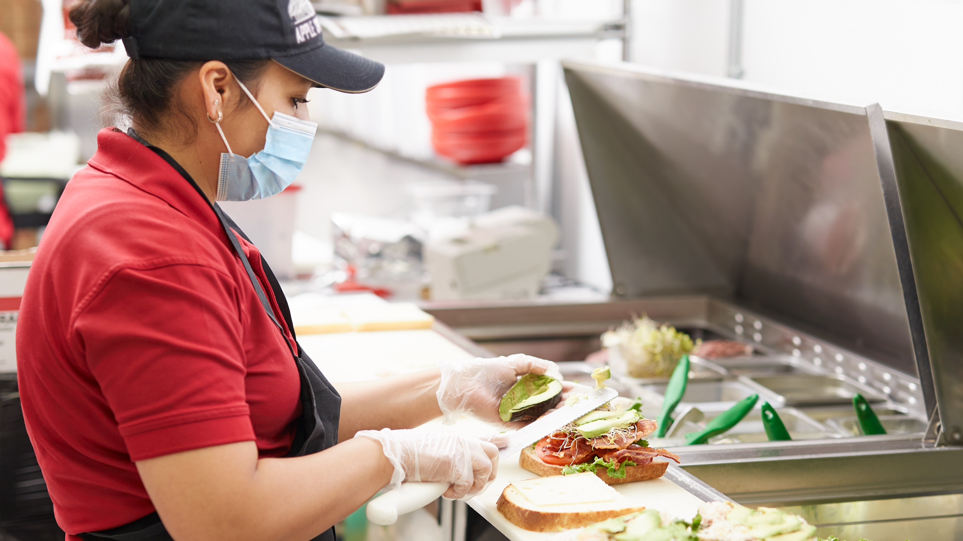Apple Spice Catering Employee Makes Catered Sandwiches
