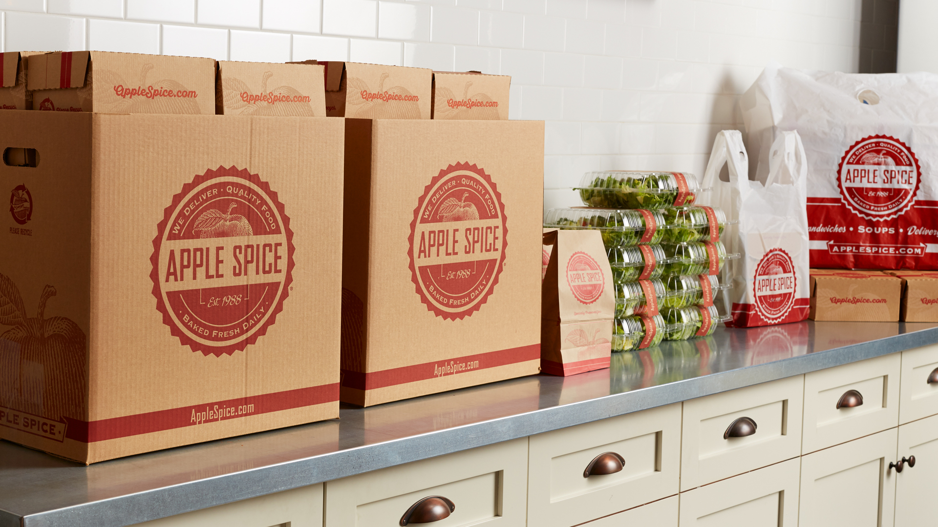 Apple Spice Catering Delivery Boxes